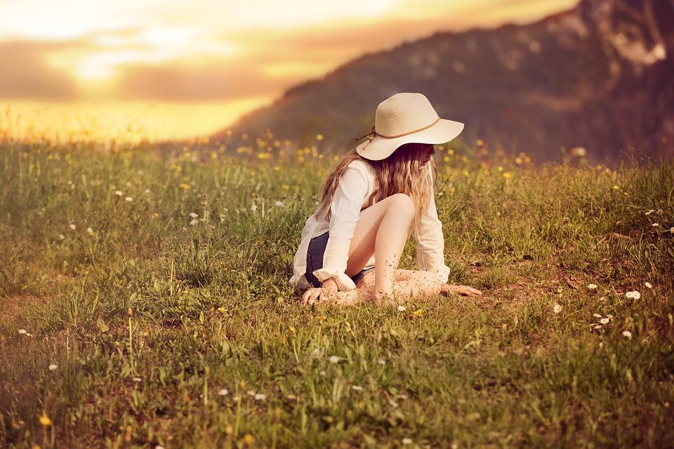 Person, Human, Female, Girl, Hat, Meadow, Grass, Nature