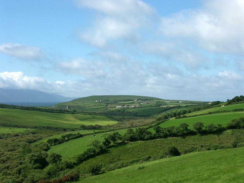 Ireland, Meadow, Sky, Green, Clouds, Grass, Nature