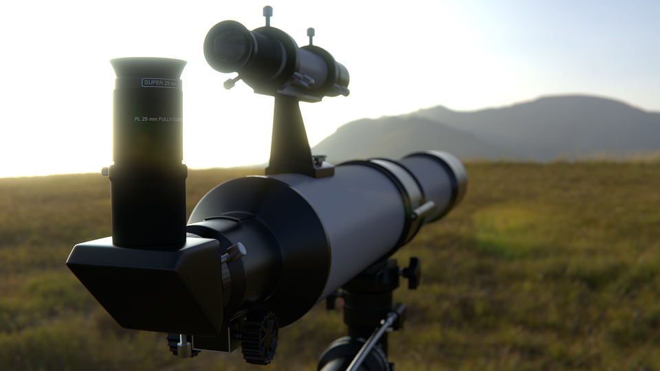 Telescope, Out, Sun, Meadow, Sky, In The Free