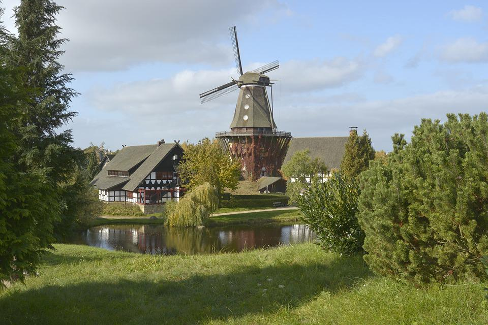 Idyll, Village, Wind, Mill, Nature, Pond, Water, Meadow