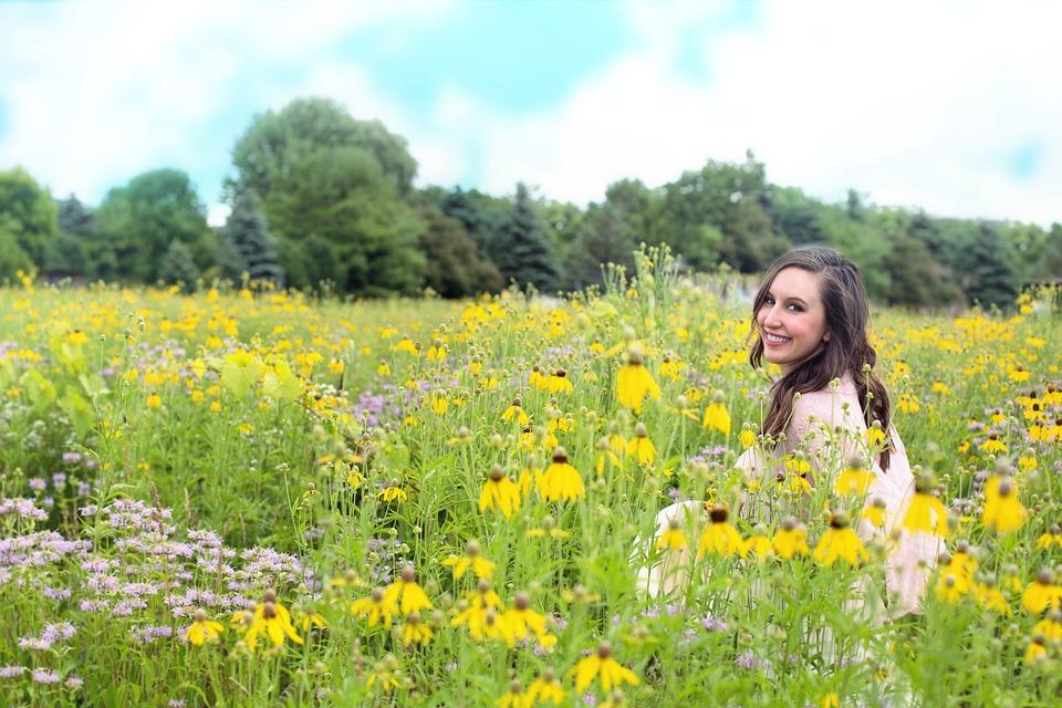 Woman, Meadow, Wildflowers, Summer, Happy, Carefree