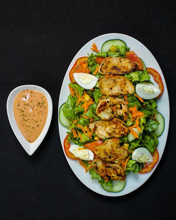 Chicken, Salad, Meal, Flat Lay, Delicious, Lunch