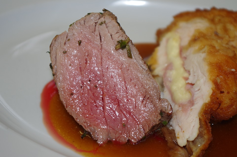 Potatoes, Pork, Sauce, Plate, Serving, Steak, Meal