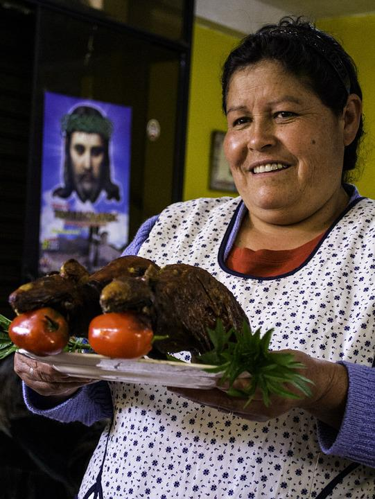 Woman, Lunch, Guinea Pigs, Peru, Meal, Family, Jesus