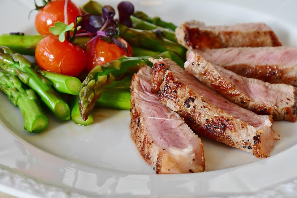 Asparagus, Steak, Veal Steak, Veal, Meat, Pink