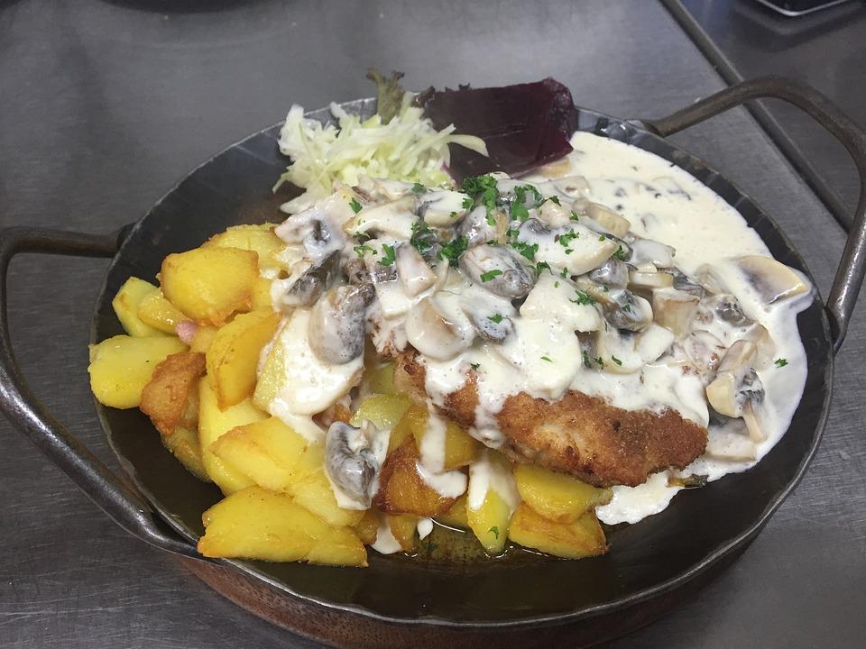 Dine, Schnitzel, Food, Meat, Eat, Cook, Court