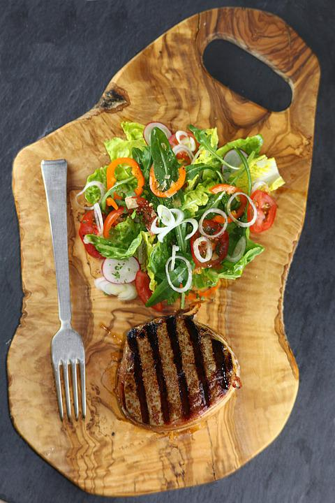 Salad, Meat, Food, Beef, Barbecue, Eat, Delicious