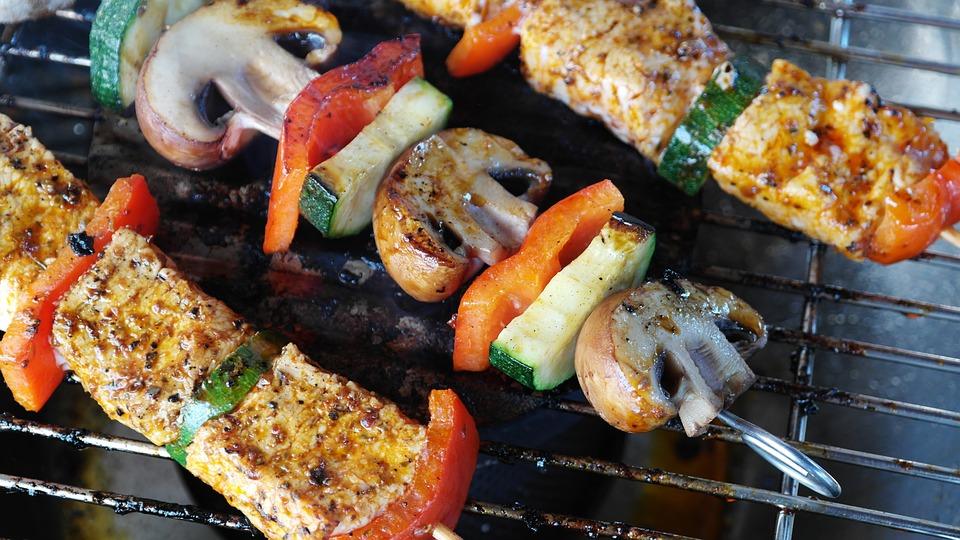 Meat, Vegetables, Gemuesepiess, Mushrooms, Meat Skewer