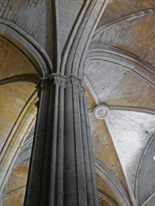 Pillar, Gothic, Cruise, Medallion, Cathedral Tortosa