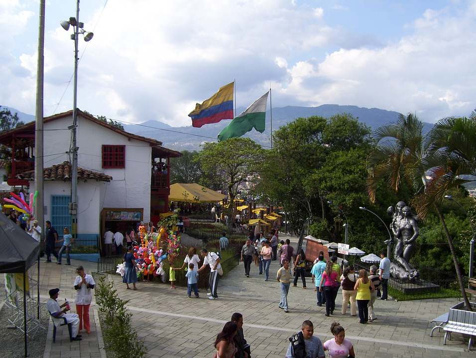 Medellín, Colombia, Pueblito Paisa, Square, People