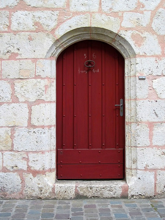 Entrance, Door, Red, Chartres, Mediaeval, Wood, Doorway