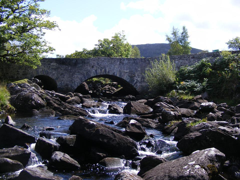 Bridge, Stone, River, Waterfall, Ireland, Medieval
