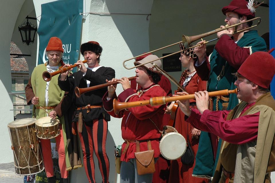 Medieval, Band, Singing, Instruments, Drums, Trumpet