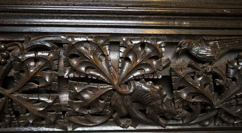 Detail, Medieval Oak Carving, Stylised Acanthus Leaf