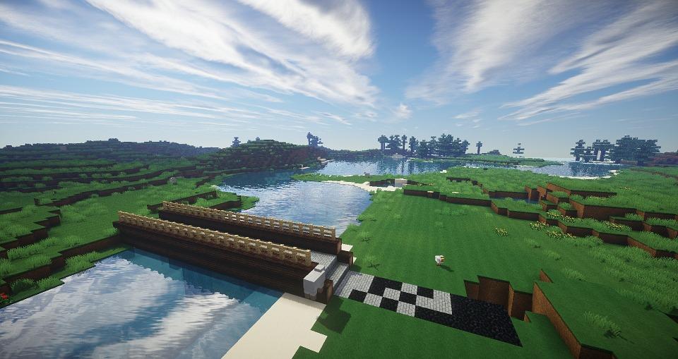 Minecraft, Bridge, River, Wood, Medieval, Log, Day