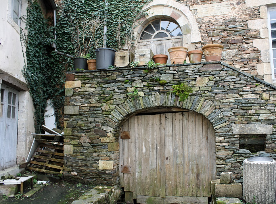 Wall, Stone, Door, Wooden, Old, Medieval, Arches, Pots