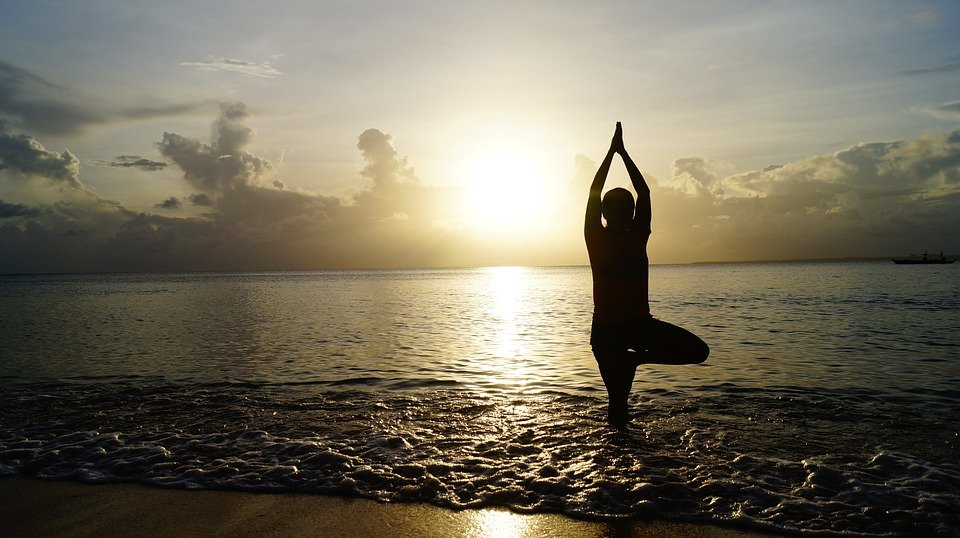Beach, Sunset, Yoga, Meditate, Meditation, Pose