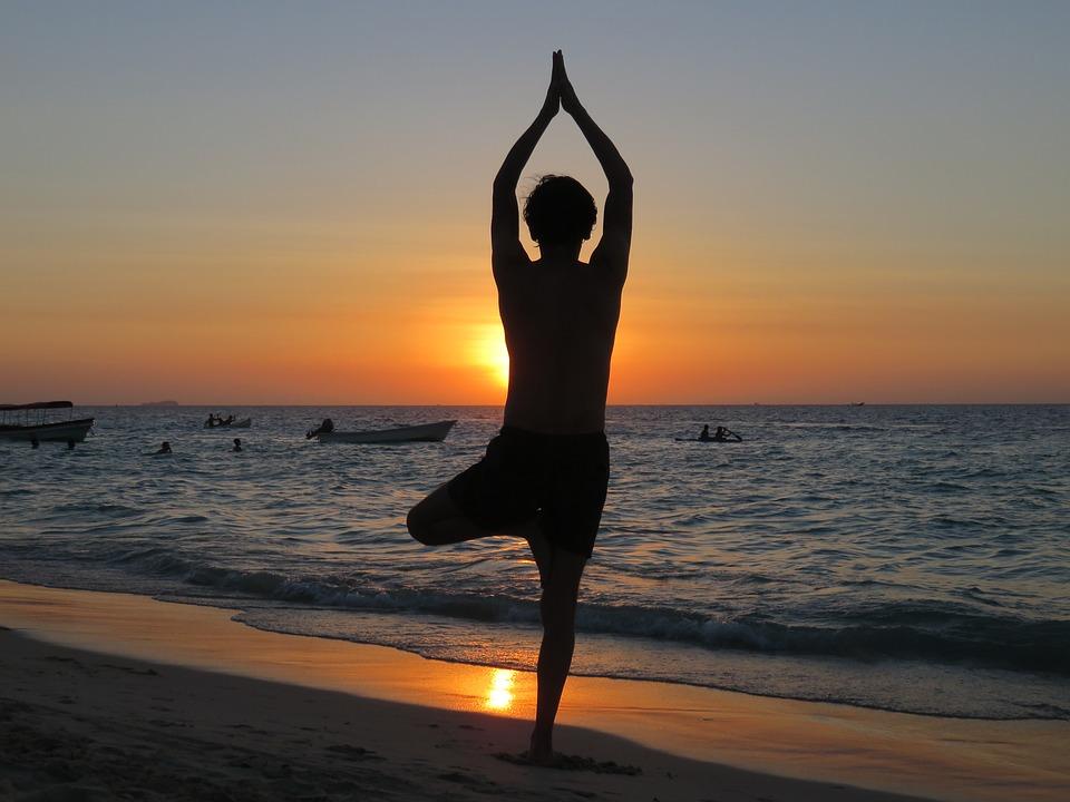 Yoga Beach Sunset Relax Meditation