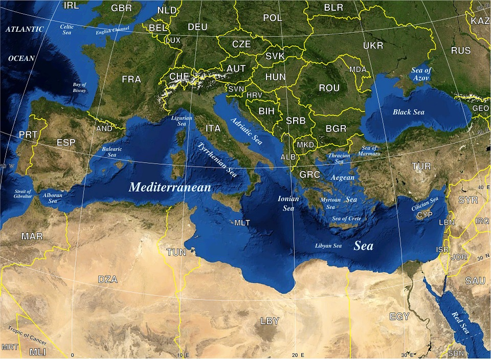geography map mediterranean sea europe political