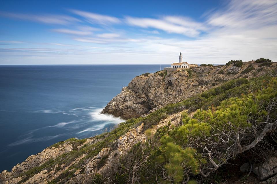 Lighthouse, Coast, Mediterranean, Sea, Water, Sky