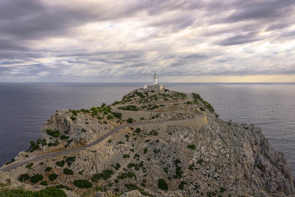 Mallorca, Lighthouse, Sunrise, Cap, Mediterranean, Rock