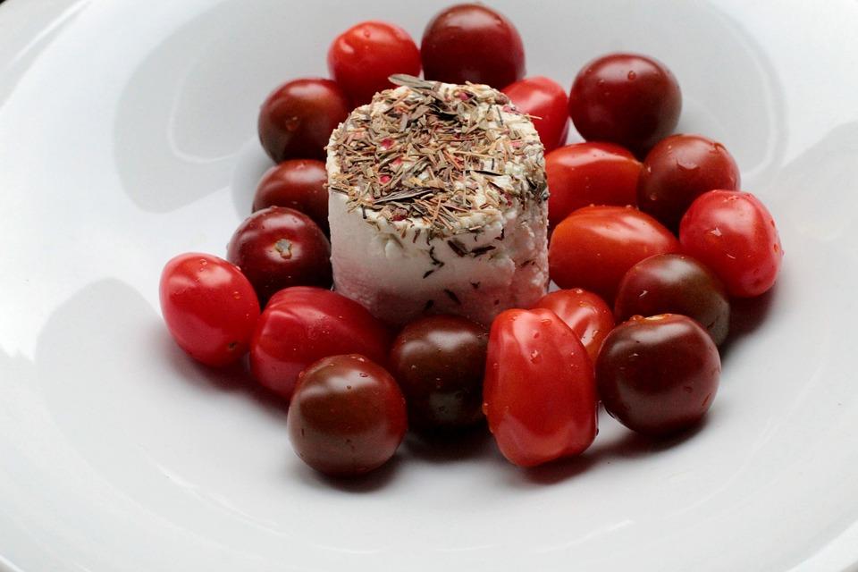 Tomatoes, Goat Cheese, Mediterranean, Food