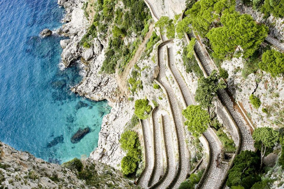 Via Krupp, Capri, Italy, Landmark, Path, Mediterranean