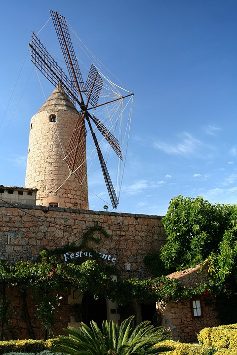 Mallorca, Windmill, South, Holiday, Mill, Mediterranean