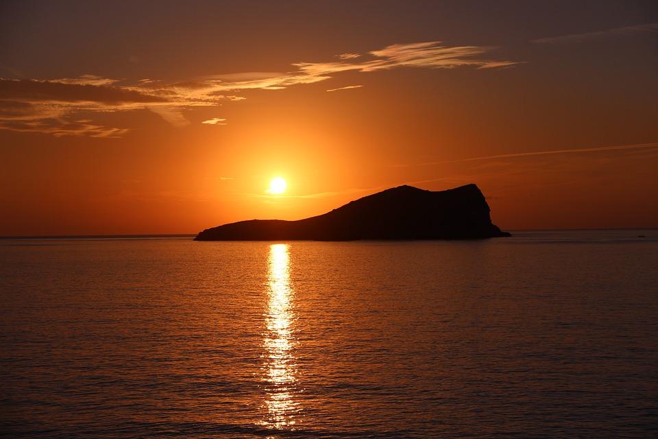 Sunset, Ibiza, Mediterrean, Island, Sun, Sea, Orange