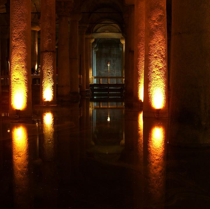 Medusa Cistern, Istanbul, Arcade, Mirroring, Columnar