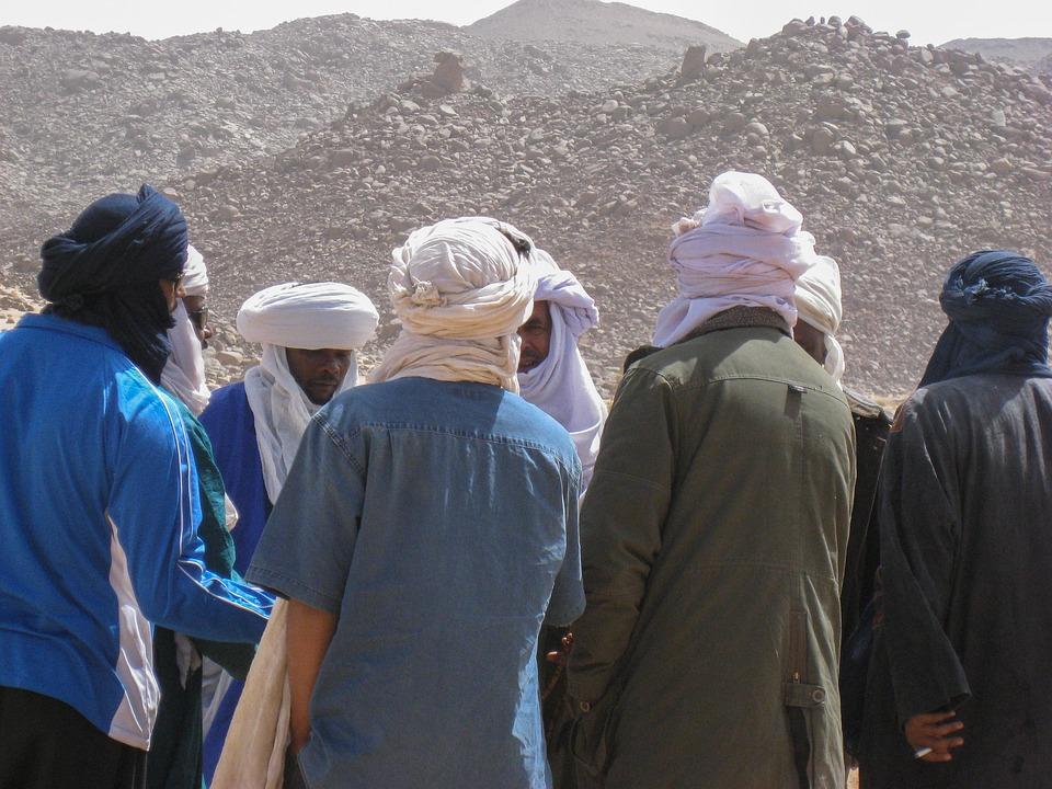 Algeria, Sahara, Tuareg, Meeting, Turbans, Desert