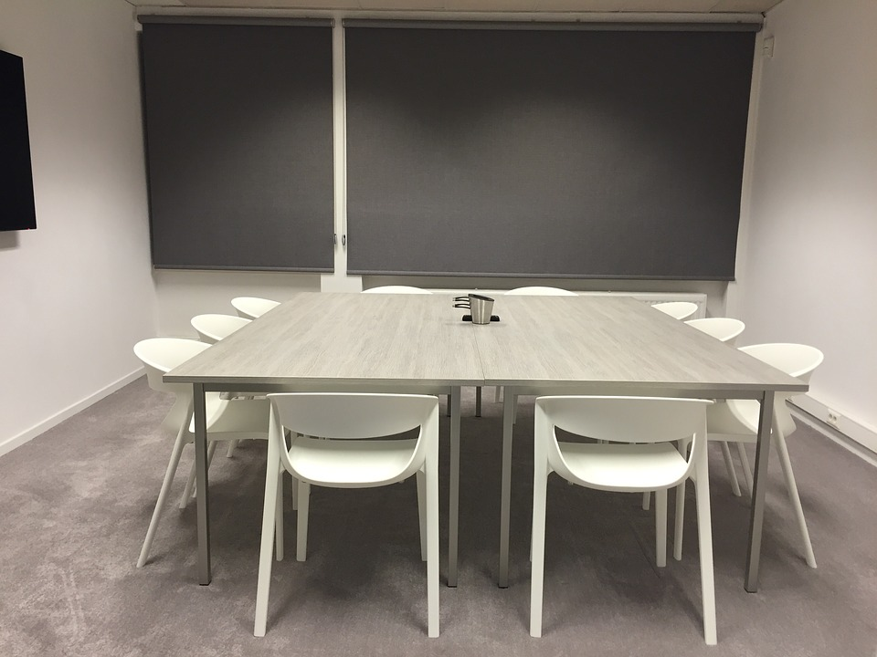 Meeting, Room, Blinds, Table, Chairs