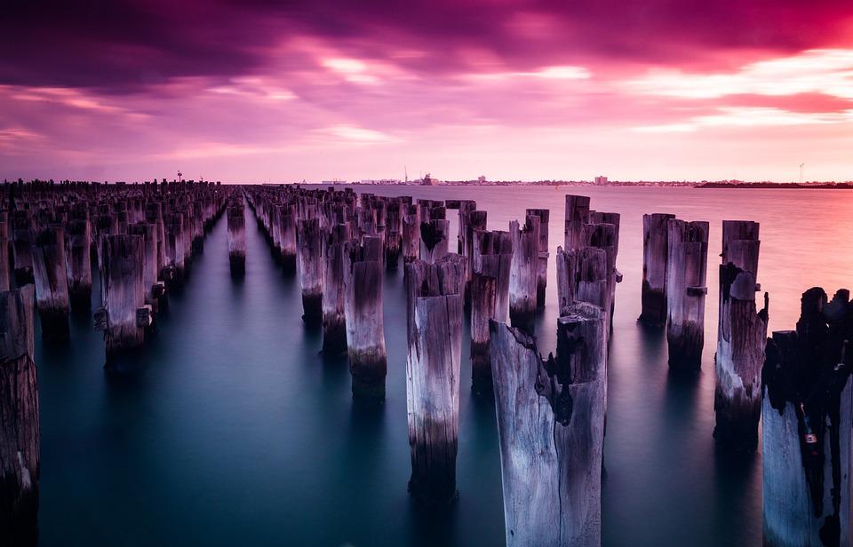 Princes Pier, Melbourne, Port Melbourne, Poles, Sunset