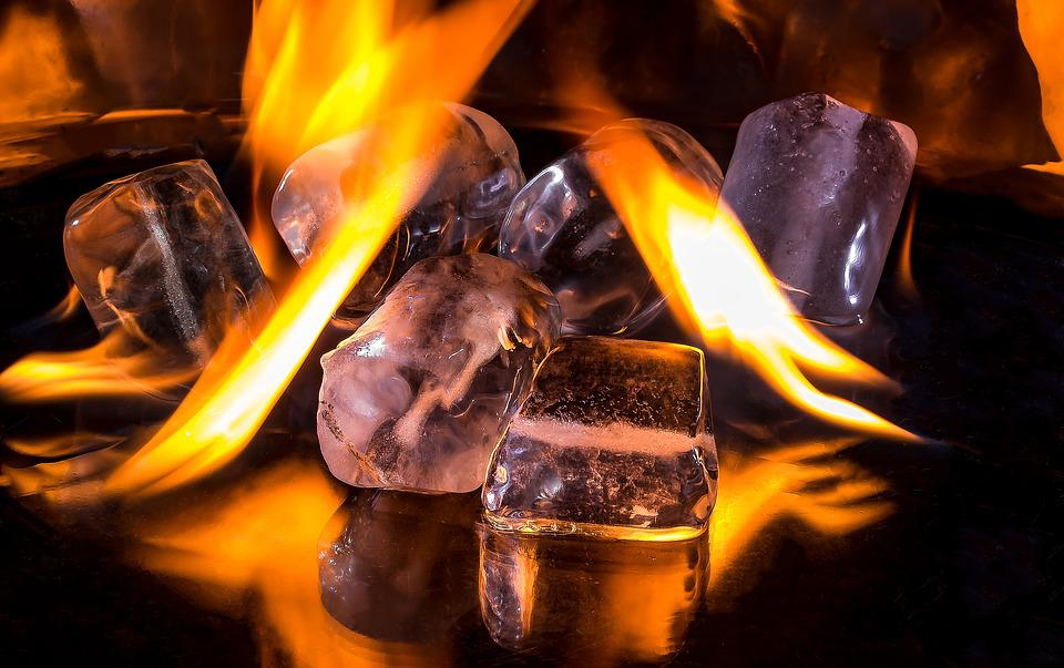 Ice Cubes, Fire, Flame, Burn, Hot, Ice Cold, Melt