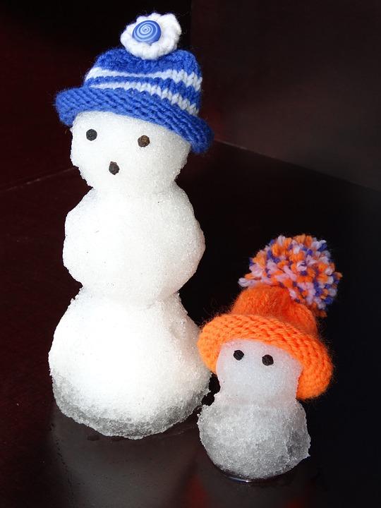 Snow Man, Snowmen, Family, Cap, Blue, Orange, Melt