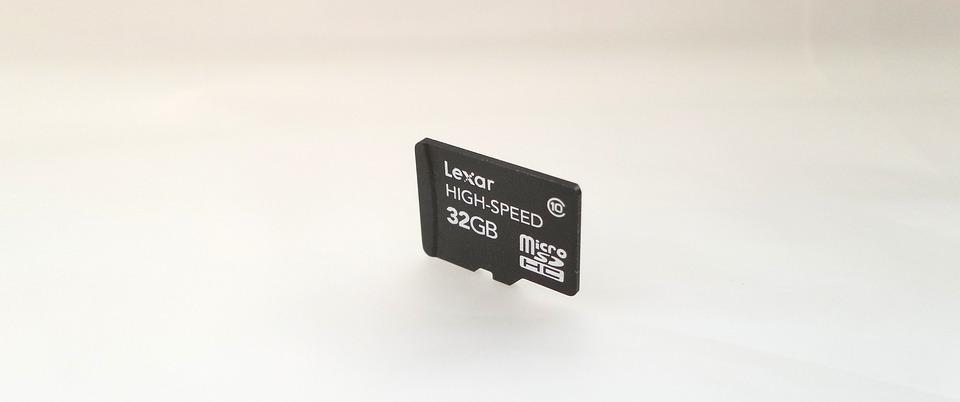 Micro, Sd, Card, 32gb, White, Background, Lexar, Memory
