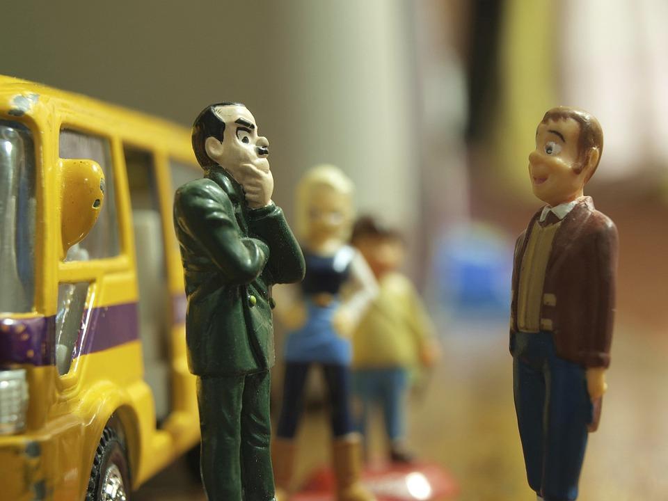 Figures, Toy, Bus, Talking, Men, People, Waiting