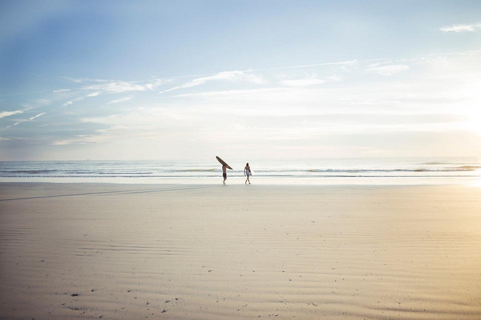 Horizon, Sea, Ocean, Water, Waves, People, Men, Walking