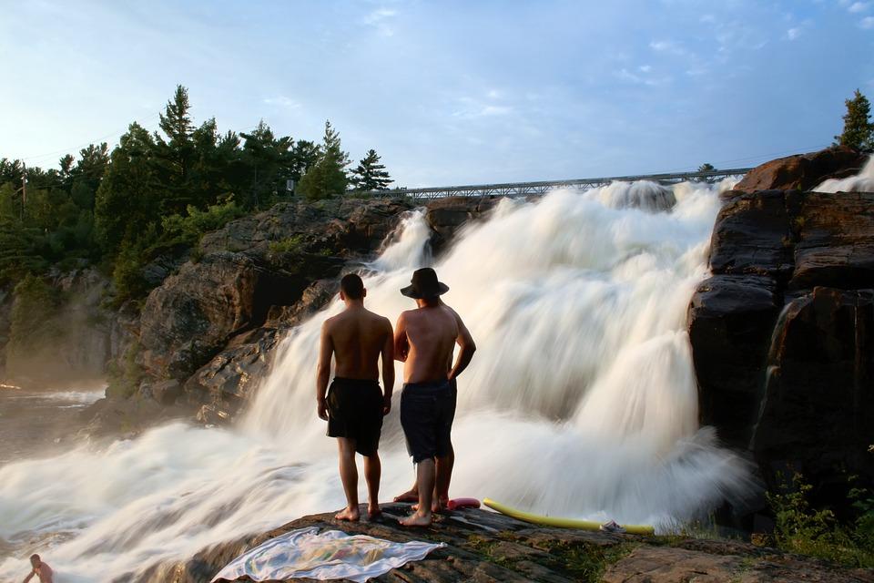 Waterfall, Stream, Men, Vacation, Enjoying