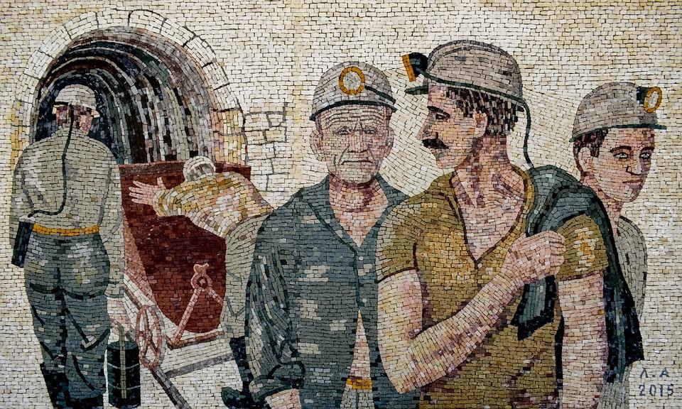 Miners, Workers, Men, Mine, Wall, Mosaic, Art, Work