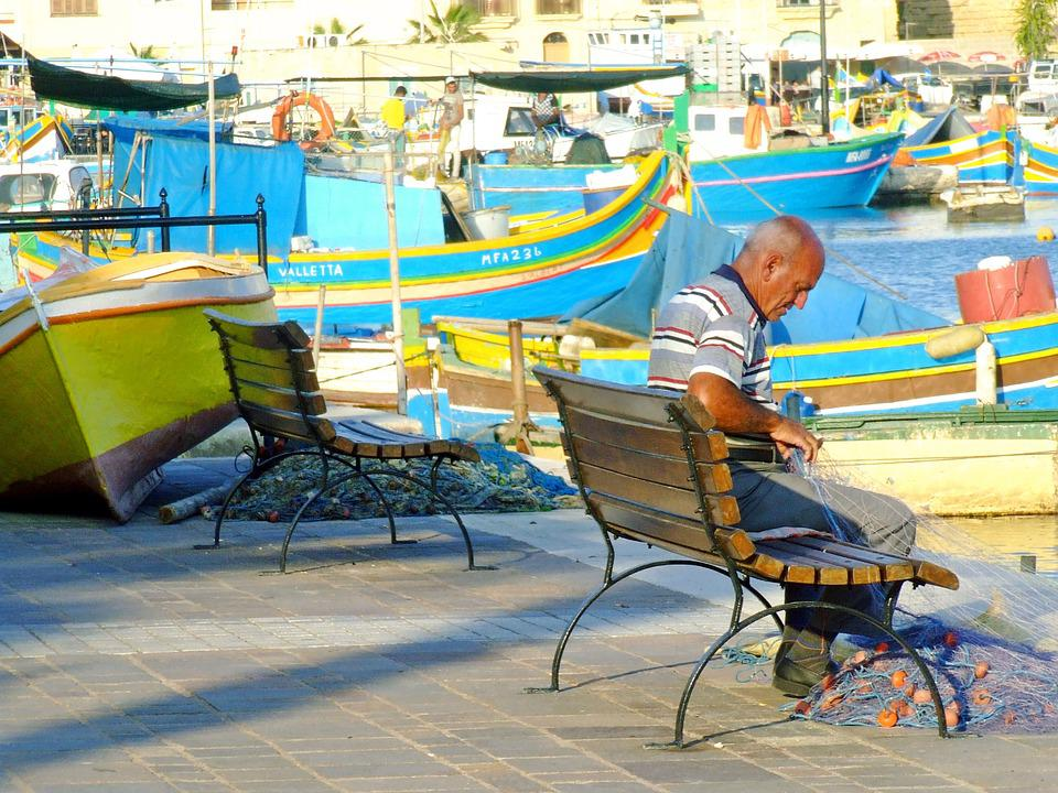 Fisherman, Mending Nets, Repairing Fishing Nets