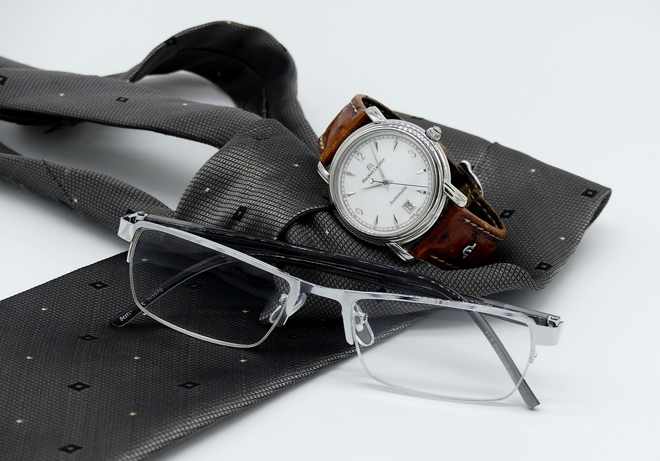 Wrist Watch, Clock, Tie, Reading Glasses, Mens, Man