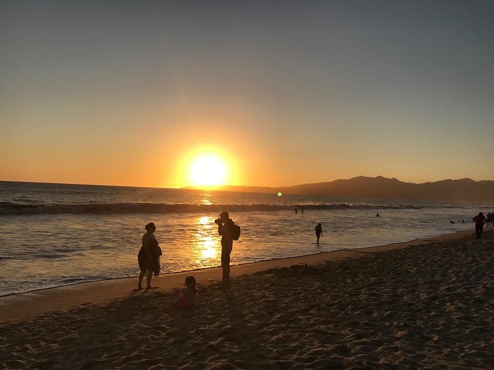 Coucher Du Soleil, Océan, Mer, Silhouettes, Plage
