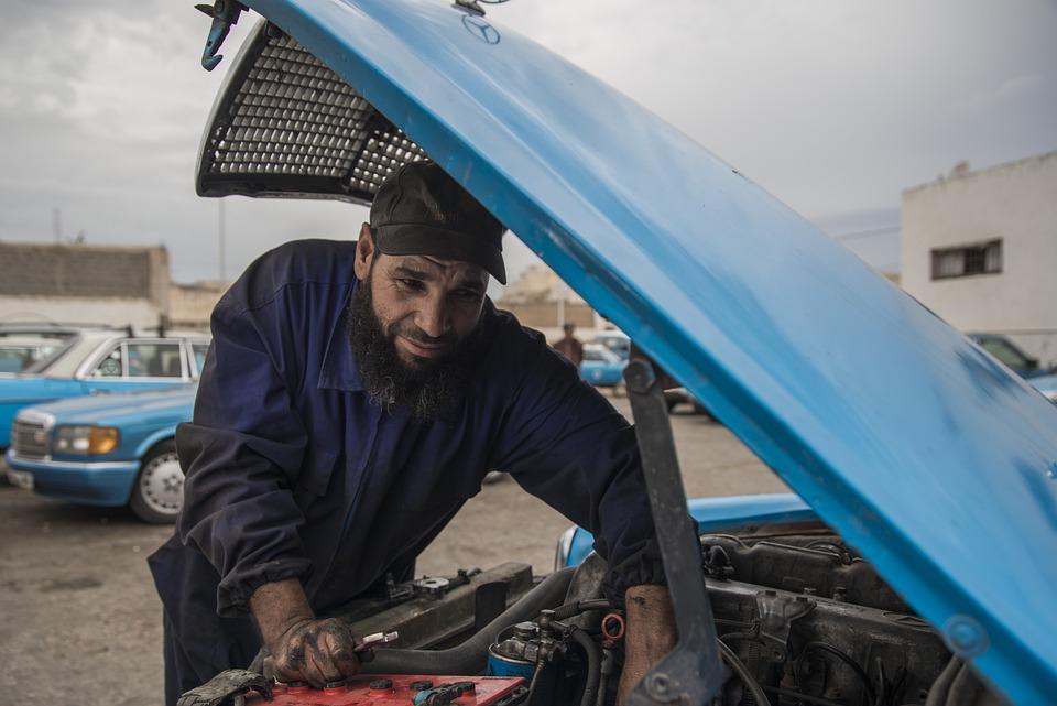 Mechanic, Mercedes, Blue, Taxi, Essaouira, Vehicle