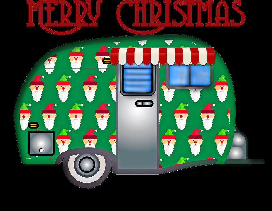 Christmas Travel Trailer, Merry Christmas, Caravan