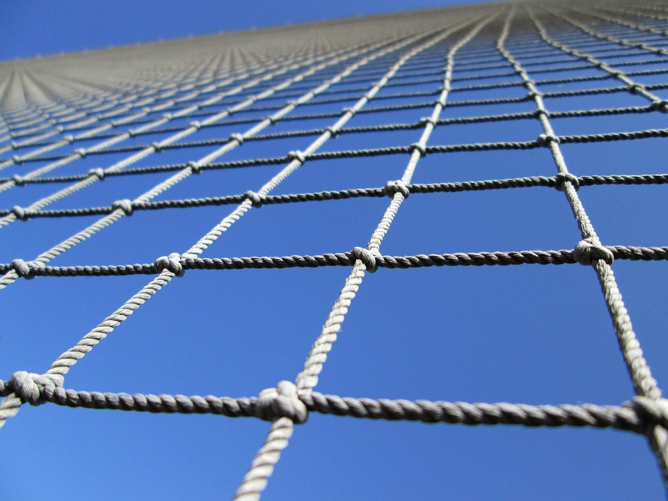 Mesh, Barrier, Perspective, Angle, Upward, Rope, Knots