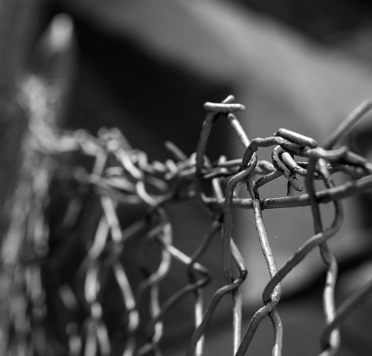 Wires, Black And White, Fence, Metal, Atmosphere