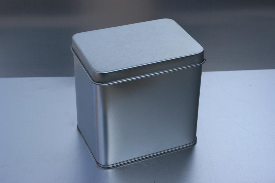 Tin Can, Metal Box, Christmas Box, White Tin Can