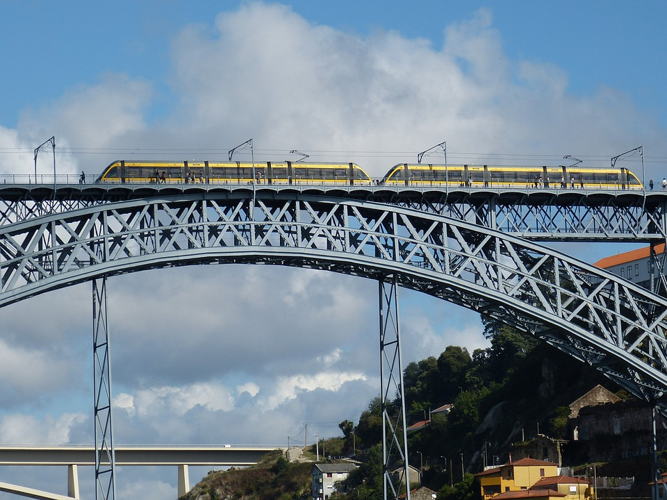 Bridge, Metal, Arch, Train, Railway, Railcar, Cross
