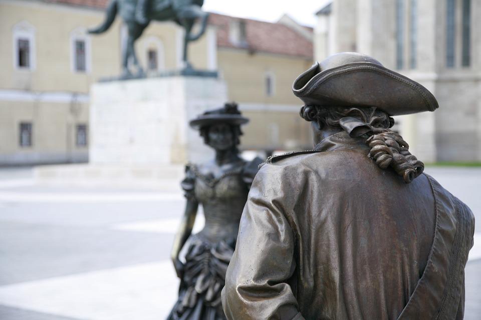 Bronze Statues, Alba Iulia, Figure, Metal, Man, Woman
